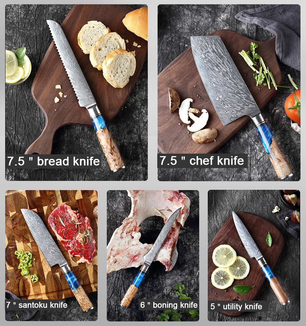 """XITUO Damascus chef's knife 8""""inch Japanese vg10 67-layer Damascus steel kitchen cleaver Slicing Salmon Sushi knives colorful"""
