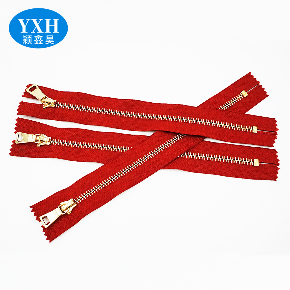 Manufactured Custom two way color closed 3#4#5# clothing polished metal handbag zipper brass zips by the yard
