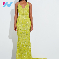 Women's Fashionable Yellow Sequin Embellished Fishtail Maxi Dress