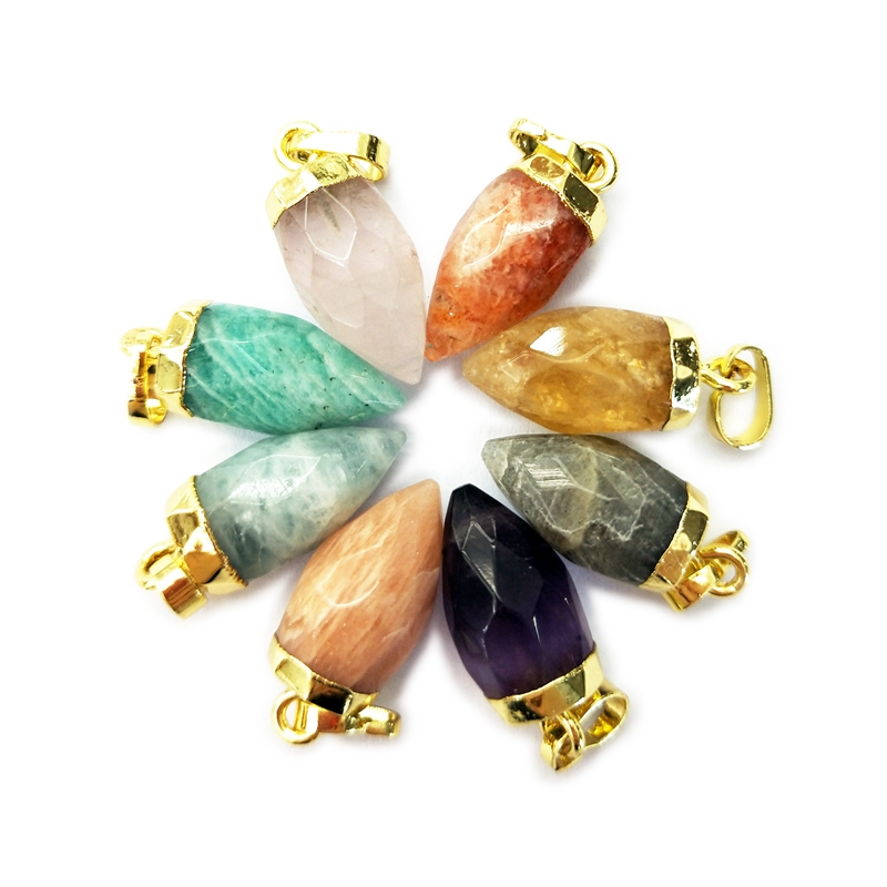 Natural gemstone Bullet point Pendants silver plated Edge Charms amethyst amazonite citrine labradorite Wholesale Supplier
