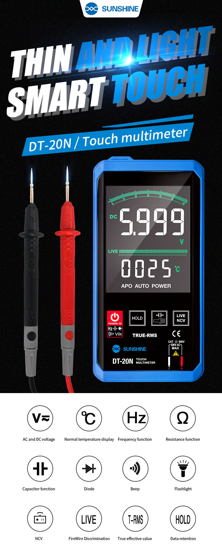 NEWEST SUNSHINE DT-20N touch control  Multimeter