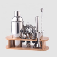 Factory Direct 28oz stainless steel cocktail shakers bartender wine tool set bamboo bar accessories kit with stand