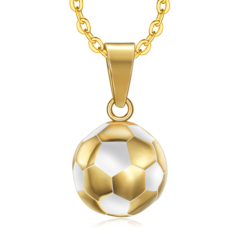 Olivia In Stock New Gold Soccer Ball Necklaces Sports Series Stainless Steel Football Necklace For Boy Men Jewelry Gifts