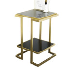Golden Metal Frame Side Table with Black Tempered Glass For Living Room