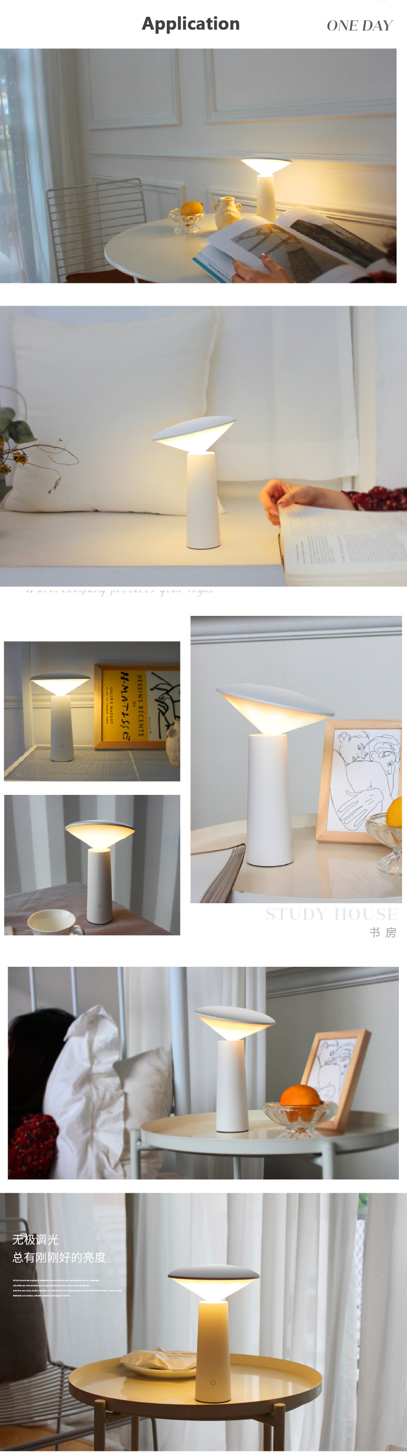 Rechargeable lithium battery operated led desk lamp mini night light table lamp with color temperature and brightness adjustable