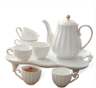 Hand painted golden rim modern fancy white color 8pcs new bone china tea set for hotel
