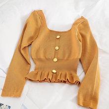 Корейский вариант, короткий женский свитер, однотонный, с оборками, с длинным рукавом, вязаный пуловер, весна-осень, модные повседневные жен...(Китай)