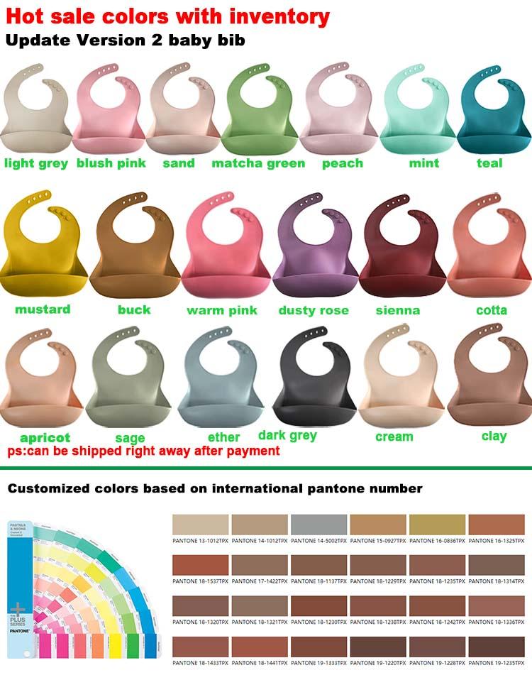 Soft Washable Food Grade silicone Feeding baby Bib Easy Clean