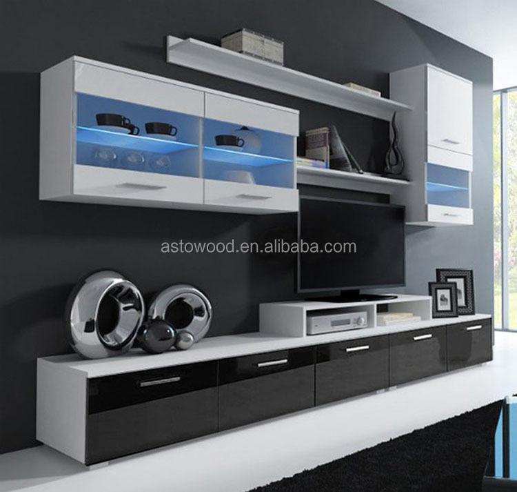 סגנון מודרני ומלמין עץ טלוויזיה קבינט סט עם LED אורות & מבריק קדמי