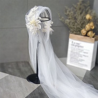 bride tiara gauze double lace veil wedding accessories