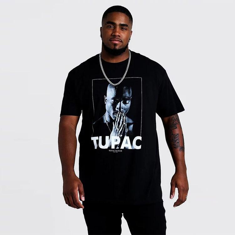 Hot sell big men's vintage crew neck short sleeve 100% cotton black tupac oversize t-shirts