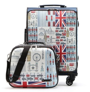 Printing uk flag hard suitcase and makeup case 2 piece luggage set