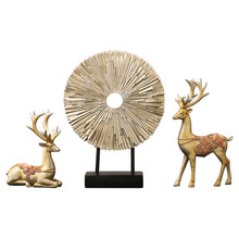 Nordic creative resin crafts lucky deer ornaments living room porch wine cabinet decoration wedding gifts