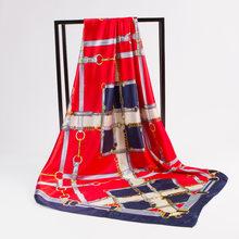 90X90cm большой квадратный искусственный Шелковый Тюрбан женский компас карета Ретро Этнический стиль Печатные атласные шарфы для женщин 2020 В...(Китай)