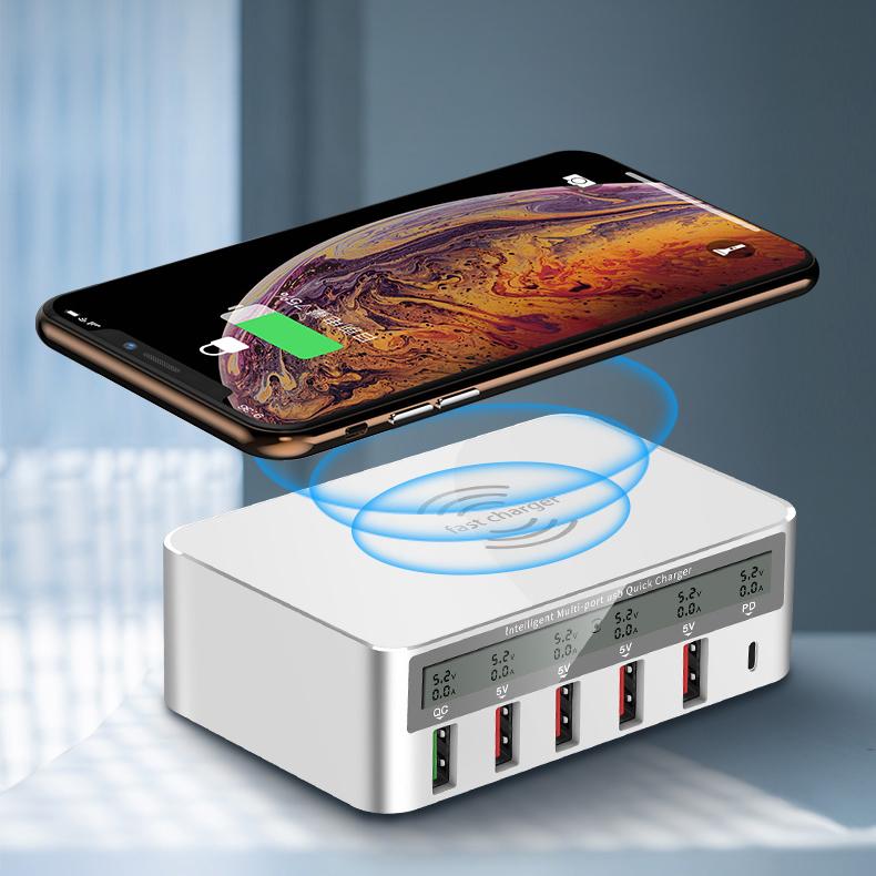 100 W Mobiele Telefoon Snel Opladen Station Usb Travel Power Adapter Pd Qi Draadloze Oplader Voor Iphone Ipad Samsung