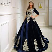 Темно-синие вечерние платья размера плюс, длинные элегантные платья знаменитостей с аппликацией, вечерняя одежда от турецкого Кутюра, хала...(Китай)