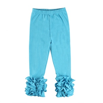 2019 Wholesale baby clothing pure color ruffle pants kids children girls pants