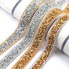19.5mm gold/silver tape crystal hot fix rhinestone banding cup chain trim for dressing garment shoes