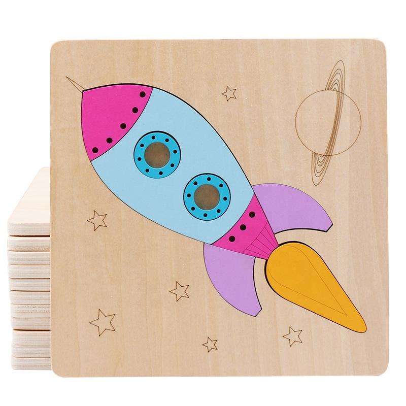 Free sample Wholesale Creative Children Educational Toys Cartoon Shape Wooden Animal Puzzle Toy