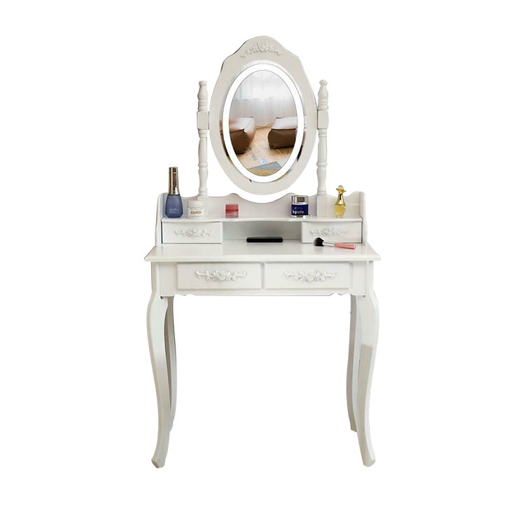 Wholesale Nordic eco-friendly White Led Light New Design Dressing Table With Oval Mirror