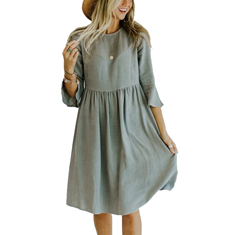 Women's Flare Sleeve Ruched Waist 100%Woven Cotton Casual Dress