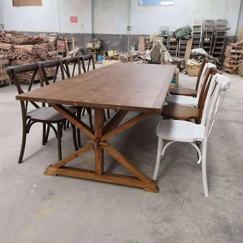 solid pine wood farm table wooden folding vintage wedding dining table