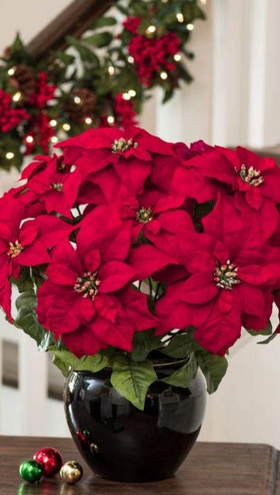 ตกแต่ง5หัวสีแดงดอกไม้คริสต์มาสประดิษฐ์Poinsettiaดอกไม้หม้อกระดาษฟอยล์