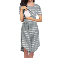2020 new explosion models striped multi-functional maternity dress mom breastfeeding dress spot