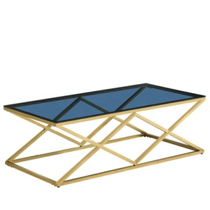 Fancy Luxury Modern Rectangle Metal Tempered Glass Top Gold Stainless Steel Framed Diamond Coffee Table