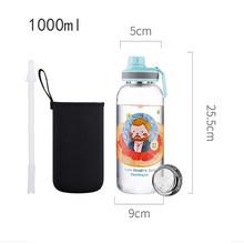 Стеклянная бутылка для воды, 1000 мл, 600 мл, большая емкость для воды, нержавеющая сталь 304, фильтр для чая, свободный рукав для бутылки(Китай)