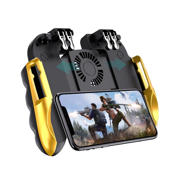 Asher H9 Game Controller With Fan Six Finger Joystick GamePad with Cooler Fire Button Mobile Phone Game HandleTrigger for PUBG