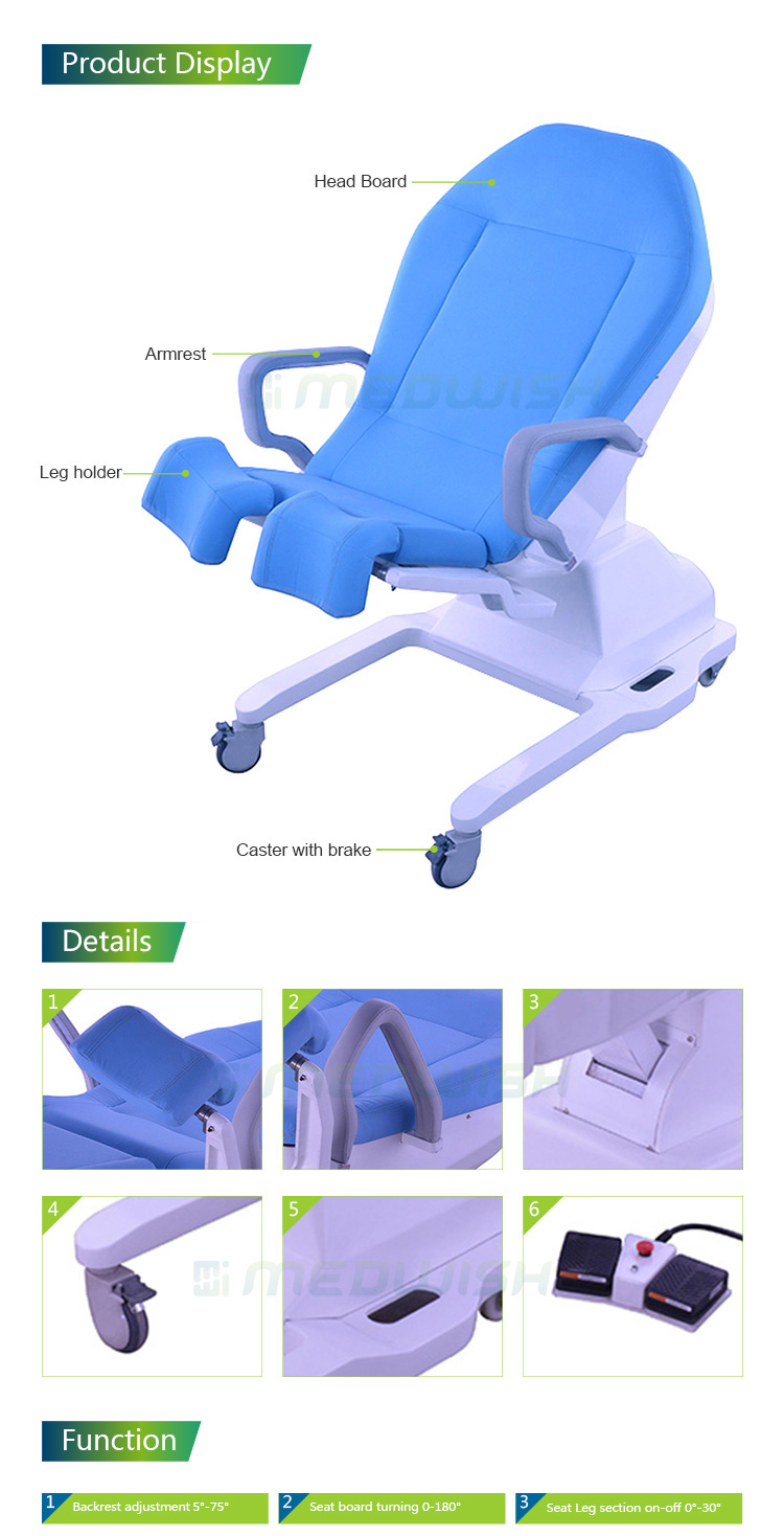 Good appearance hospital medical physical therapy treatment table electric examining bed for gynecology clinical examination