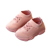 Factory wholesale cheap breathable mesh fabric unisex knitted soft sole prewalker walking toddler newborn baby shoes for kids