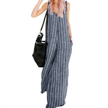 <span class=keywords><strong>Vrouwen</strong></span> Nieuwe Mode Streep V-hals <span class=keywords><strong>Overalls</strong></span> Casual Wijde Pijpen Jumpsuits