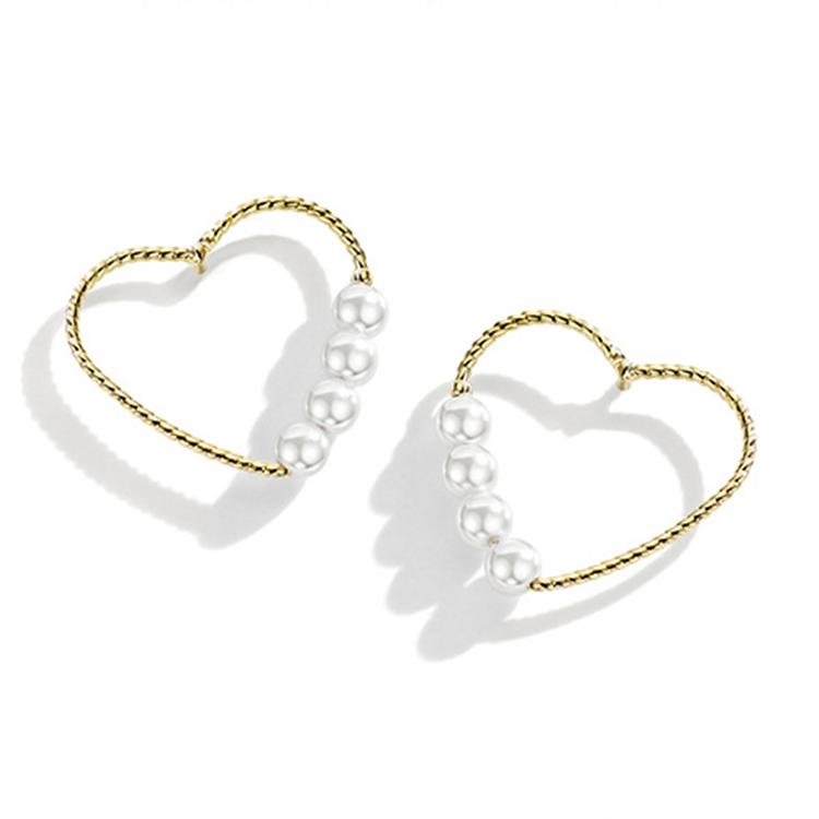 Grande Déclaration Perles Plaqué Or Perle Stud 925 En Argent Sterling En Forme De Coeur Boucles D'oreilles