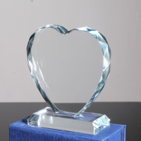 MH-LMY038 2019 new design blank crystal trophy in the shape of a heart