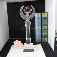 Fashion design bule base crystal trophy for competition souvenirs