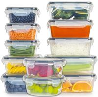 B-18 Piece Set Easy Clip Plastic Food Fresh Keeping Meal Prep Food Storage Containers