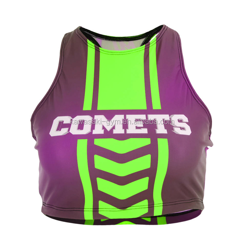 High quality design your own tight fit girls sublimation customized cheerleading crop top