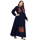wholesale super september latest new model plus size simple blue embroidery islamic muslim dresses clothing abaya