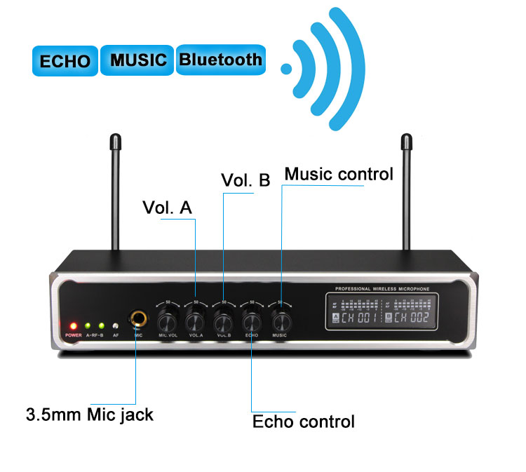 Party use Music echo bluetooth audio rechargeable wireless microphone karaoke