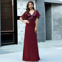 Бордовые вечерние платья Ever Pretty EP00624BD, а-силуэта, с двойным треугольным вырезом и рукавами с блестками, блестящие вечерние платья, Robe De Soiree(Китай)