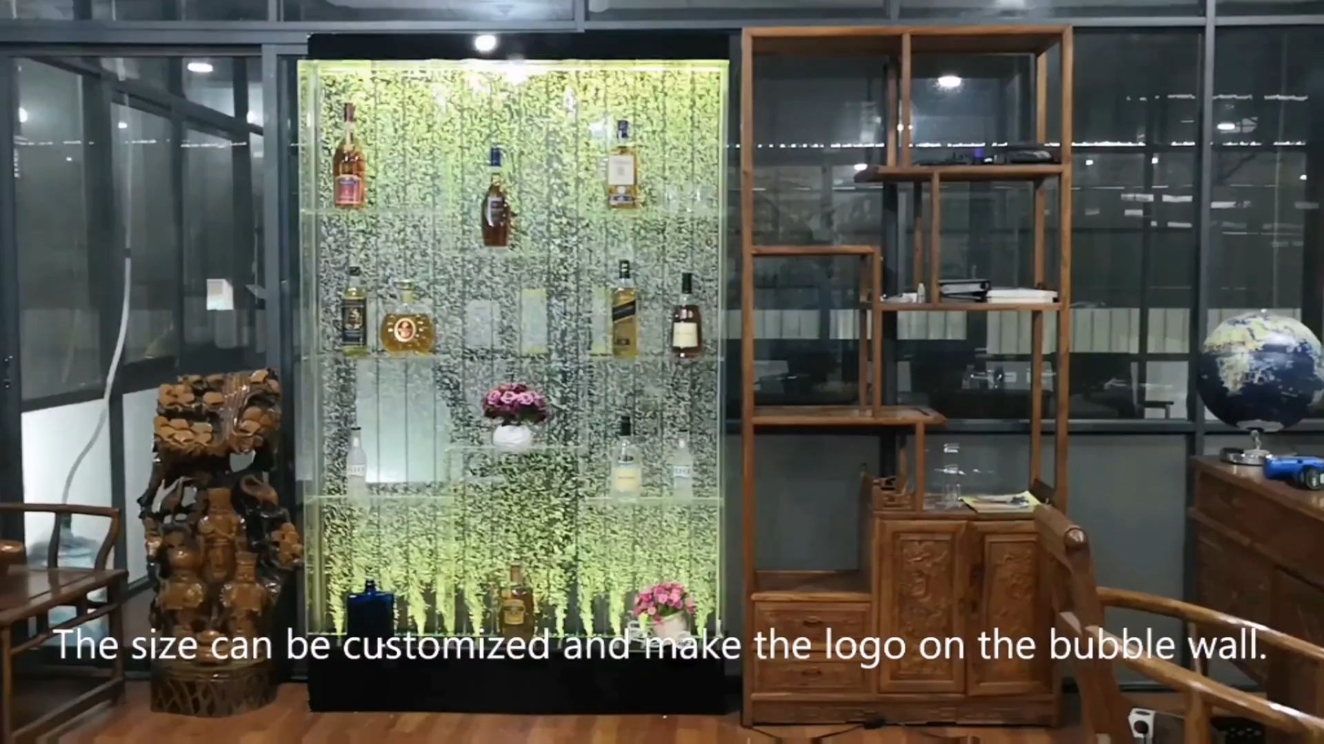 दुबई लक्जरी पानी के बुलबुले की दीवार फव्वारा कमरे डिवाइडर स्क्रीन शराब कैबिनेट बार फर्नीचर का नेतृत्व किया