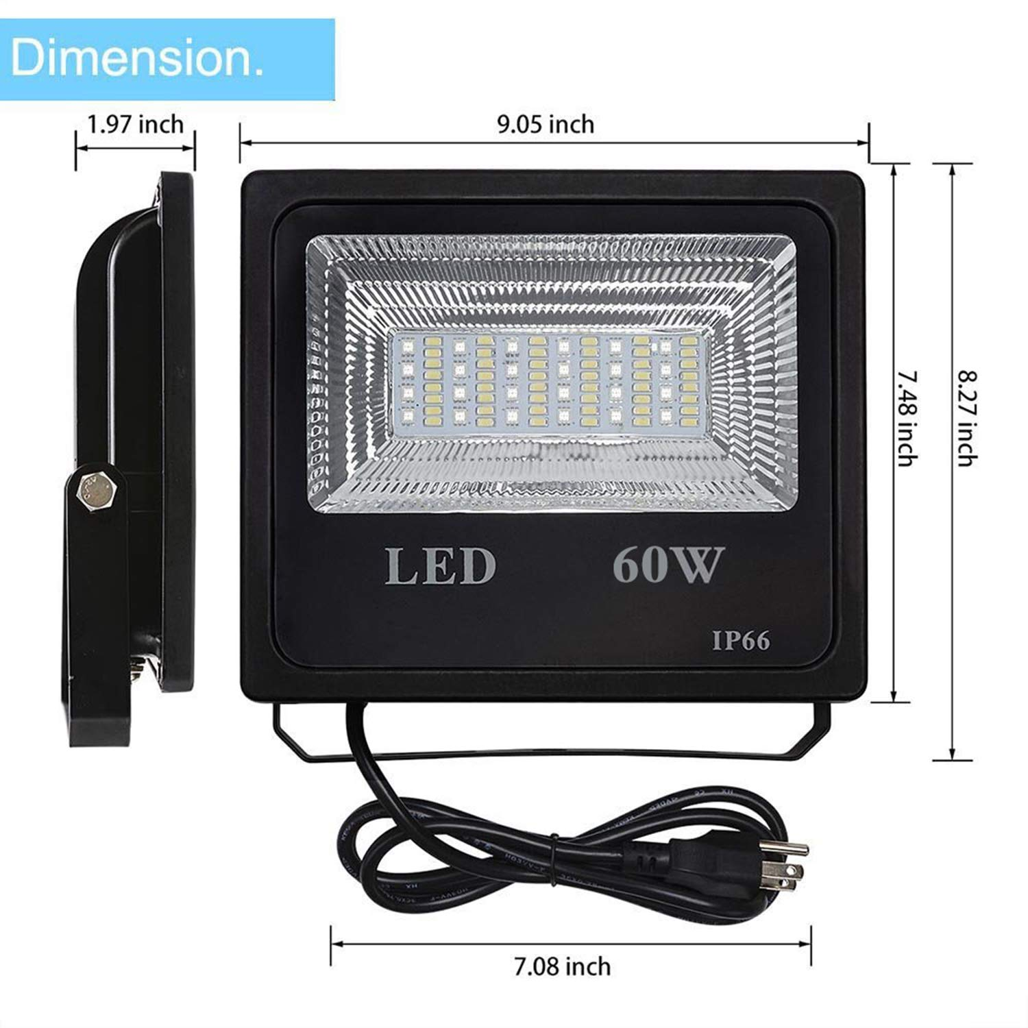 2Pack 60W RGBW LED Flood Light Color Changing Exterior Light Dimmable Outdoor Lights,Mesh and APP Control LED Flood Light