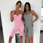 Sexy Women Solid Color Zipper Fitness Jumpsuit Bodycon Clubwear One Piece Short Rompers Deep V Neck Spaghetti Strap Bodysuits