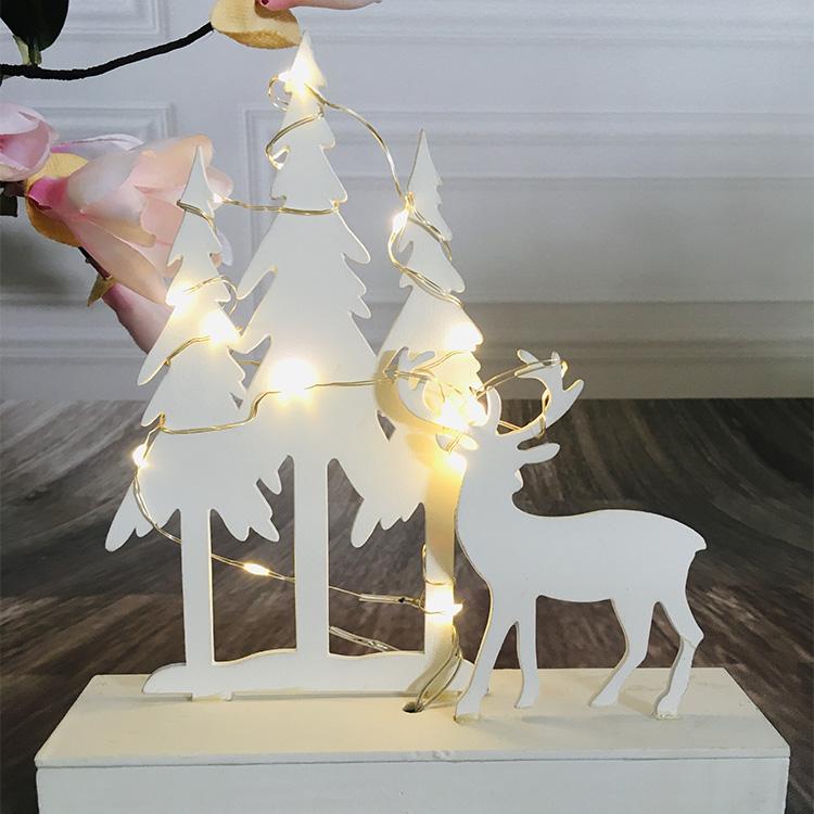 Weeding Decoration Style 20L Wooden White Tree White Deer Night Light