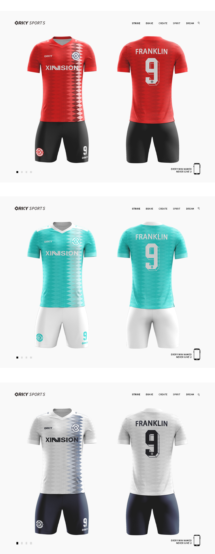 ORKY High Quality Custom Soccer Jersey Summer Short Sleeve Men Football Kits