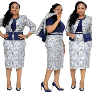 New Arrival Women Floral 2 Piece Set African Office Midi Pleated Dresses Plus Size Dress