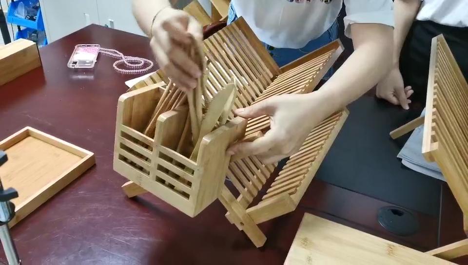 Rak Piring Bambu, Wadah Penyimpanan Bambu, Rak Piring Pengering, Braket Dapur