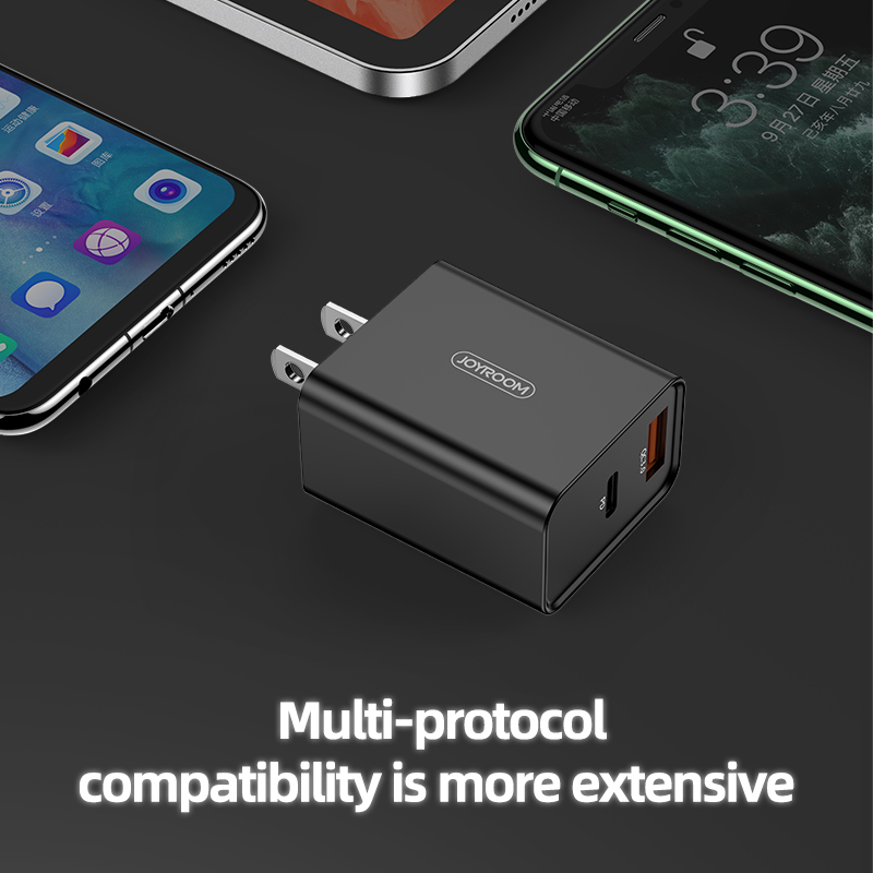 Joyroom 2 in 1 cell phone us eu uk smart plug power adapter travel mobile type c fast charging 18w pd wall qc 3.0 usb charger